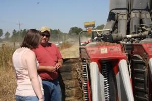 farmer explaining how picker works