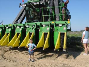 little man at a cotton picker