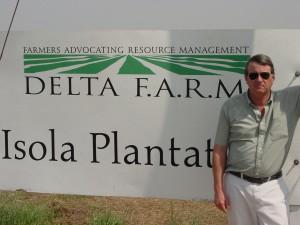 Delta farmer Dan Branton & his Delta F.A.R.M sign