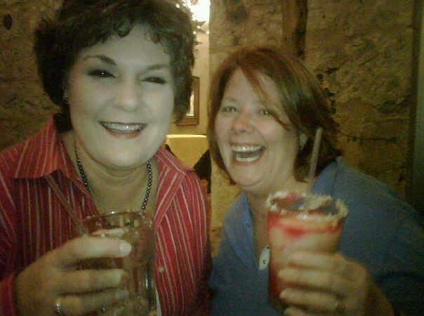 Marjory & I having prickly pear margaritas at a Beltwide dinner in 2009